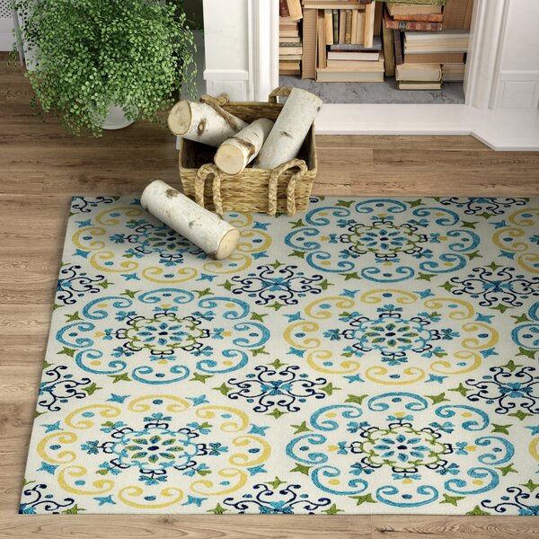 Baxter Floral Hand Hooked Cotton Blue/Yellow Area Rug
