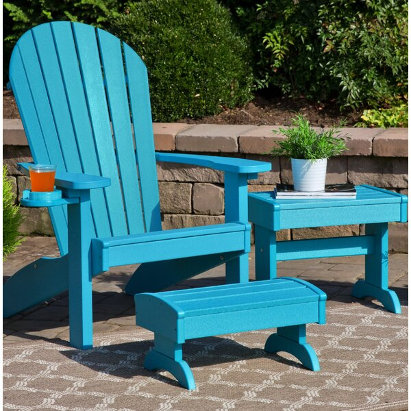 Kells 3 Piece Plastic Adirondack Chair Set with Ottoman and Table by Bayou Breeze Bayou Breeze
