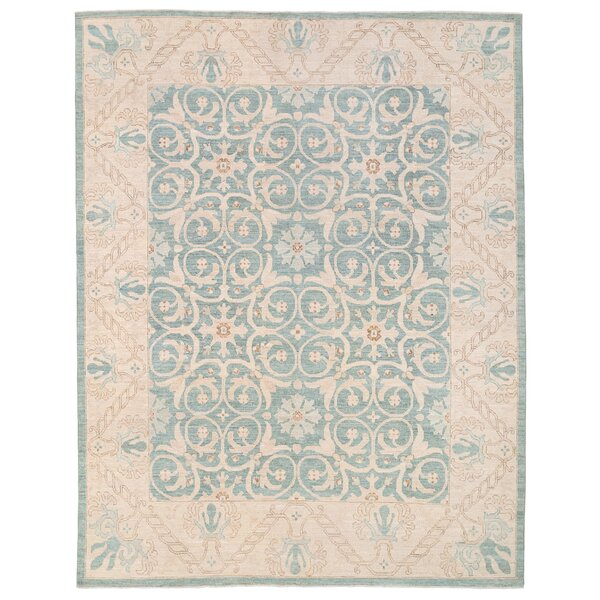 Vegetable Dye Hand-Knotted Teal Area Rug by Herat Oriental