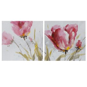 'Flower and Nature' 2 Piece Oil Painting Print Set on Canvas by La Kasa, LLC