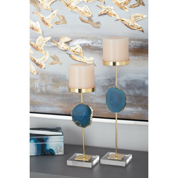 Agate 2 Piece Metal Candlestick Set by Cole & Grey