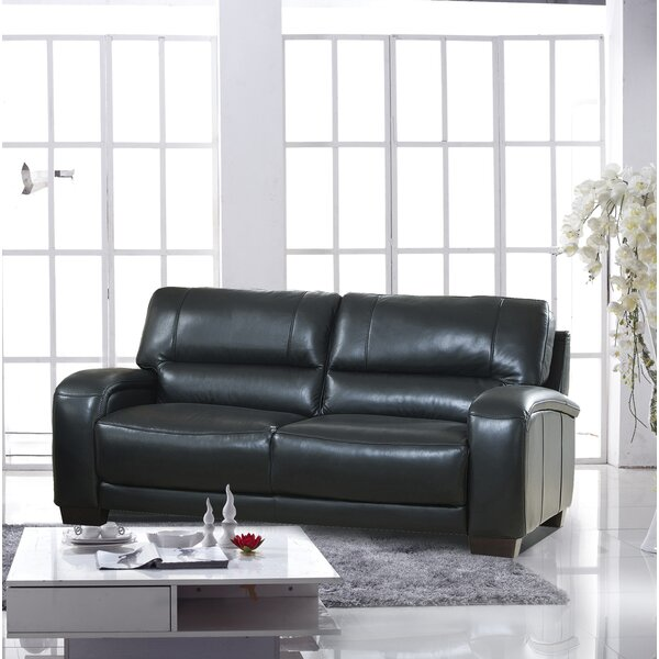 Hadsell Craft Leather Sofa by Orren Ellis