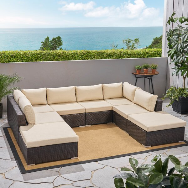 Sedgewick Outdoor 9 Piece Rattan Sectional Seating Group with Cushions Brayden Studio W000403452