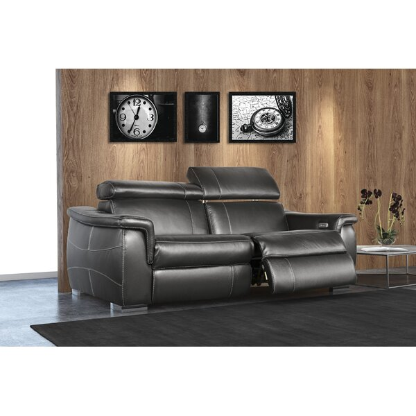 Adorian Leather Reclining Sofa by Orren Ellis
