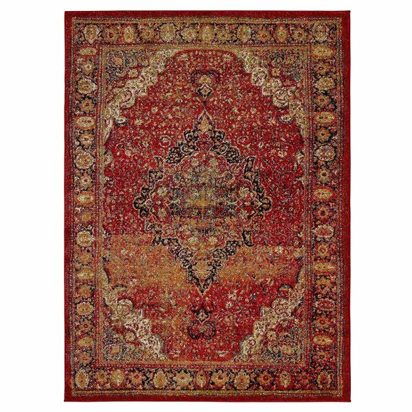 Scheetz Antique Faded Look Red Area Rug by World Menagerie