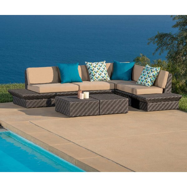Tony 5 Piece Rattan Sunbrella Sectional Seating Group with Cushions by Brayden Studio