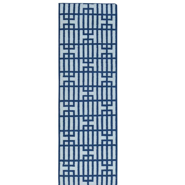 Reversible Flat Weave Durie Kilim Hand-Knotted Ivory/Blue Area Rug by Wrought Studio