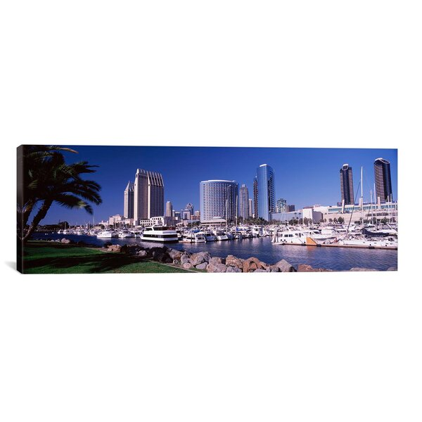 Panoramic Boats at a Harbor, San Diego, California 2010 Photographic Print on Canvas by iCanvas