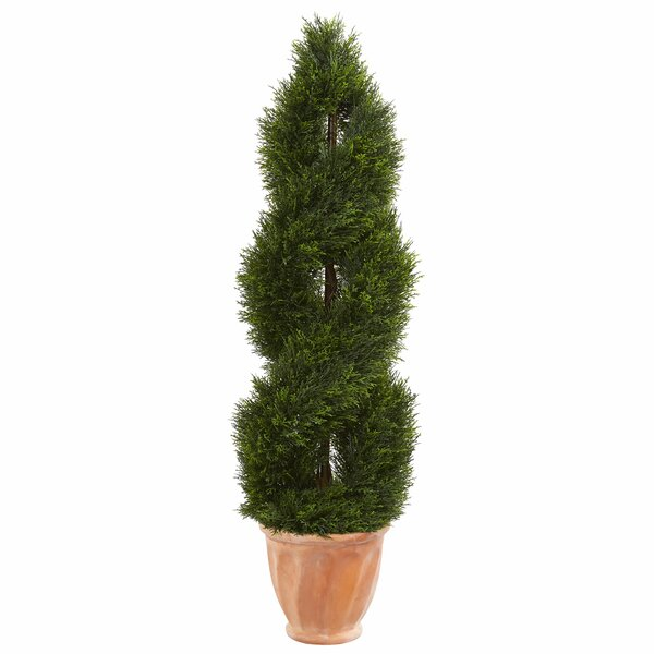 Double Pond Artificial Floor Cypress Topiary in Planter by Fleur De Lis Living
