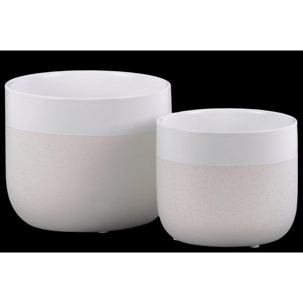 Bogner Round 2 Piece Ceramic Pot Planter Set by George Oliver