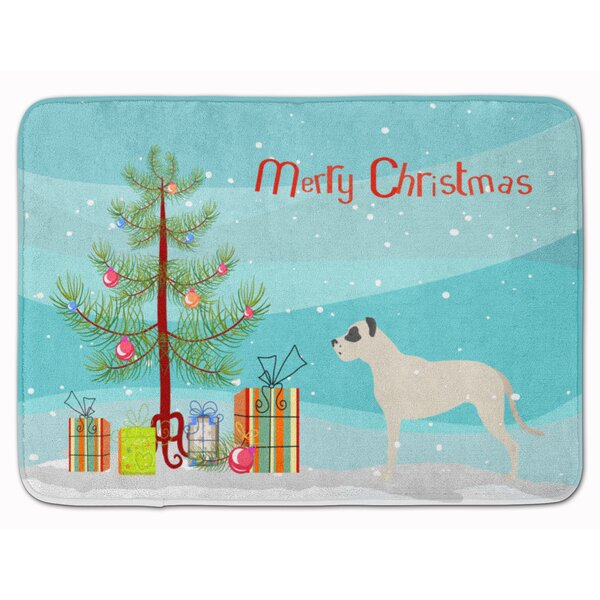 Dogo Argentino Merry Christmas Tree Memory Foam Bath Rug by The Holiday Aisle