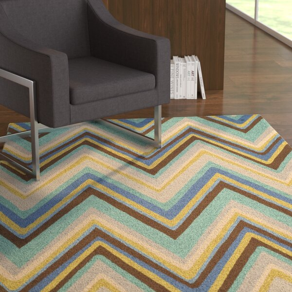 Hayes Hand-Hooked Blue Area Rug by Ebern Designs