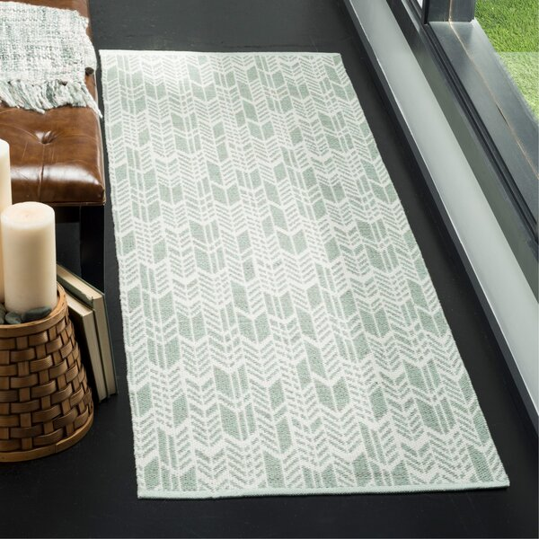 Paz Hand-Woven Light Green/Ivory Area Rug by Wrought Studio