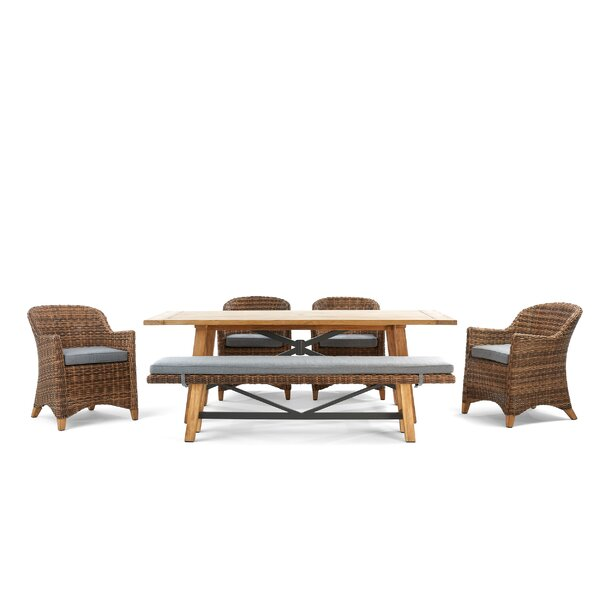Truss 6 Piece Teak Sunbrella Dining Set with Sunbrella Cushions