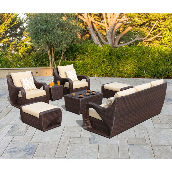 Nereus 7 Piece Rattan Sunbrella Sofa Seating Group with Sunbrella Cushions by Red Barrel Studio