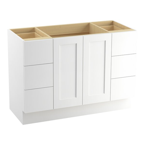 Poplin™ 48 Vanity with Toe Kick, 2 Doors and 6 Drawers, Split Top Drawers by Kohler