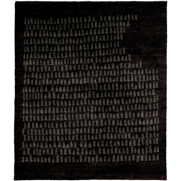 One-of-a-Kind Jaoquim Hand-Knotted Tibetan Black 8' Square Wool Area Rug