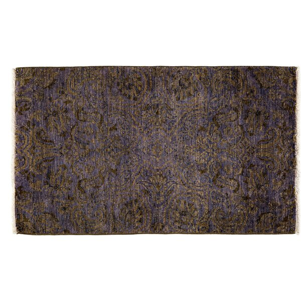 One-of-a-Kind Suzani Hand-Knotted Purple Area Rug by Darya Rugs