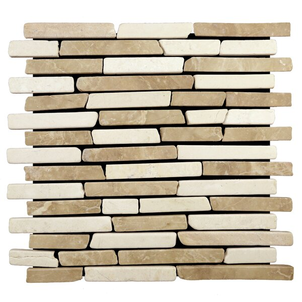 Sticks Random Sized Natural Stone Pebble Tile in Tan/White by Pebble Tile