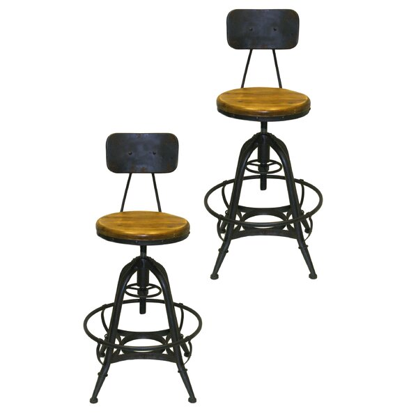 Clapton Adjustable Height Swivel Bar Stool (Set of 2) by Gracie Oaks