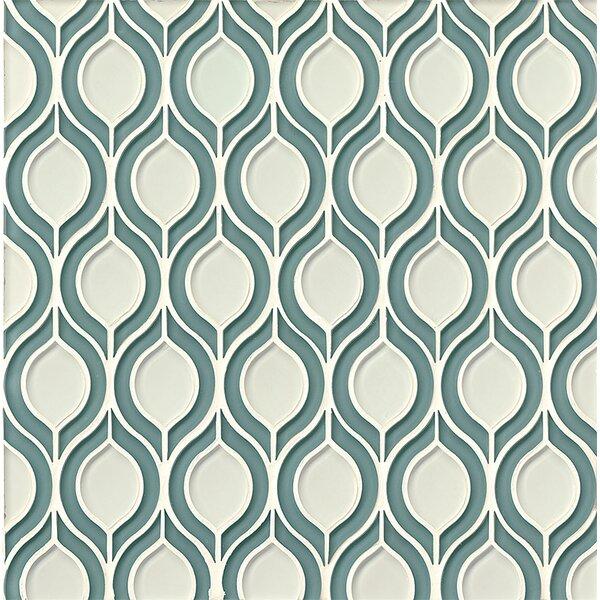 La Palma Glass Mosaic Tile in Blue / White by Grayson Martin