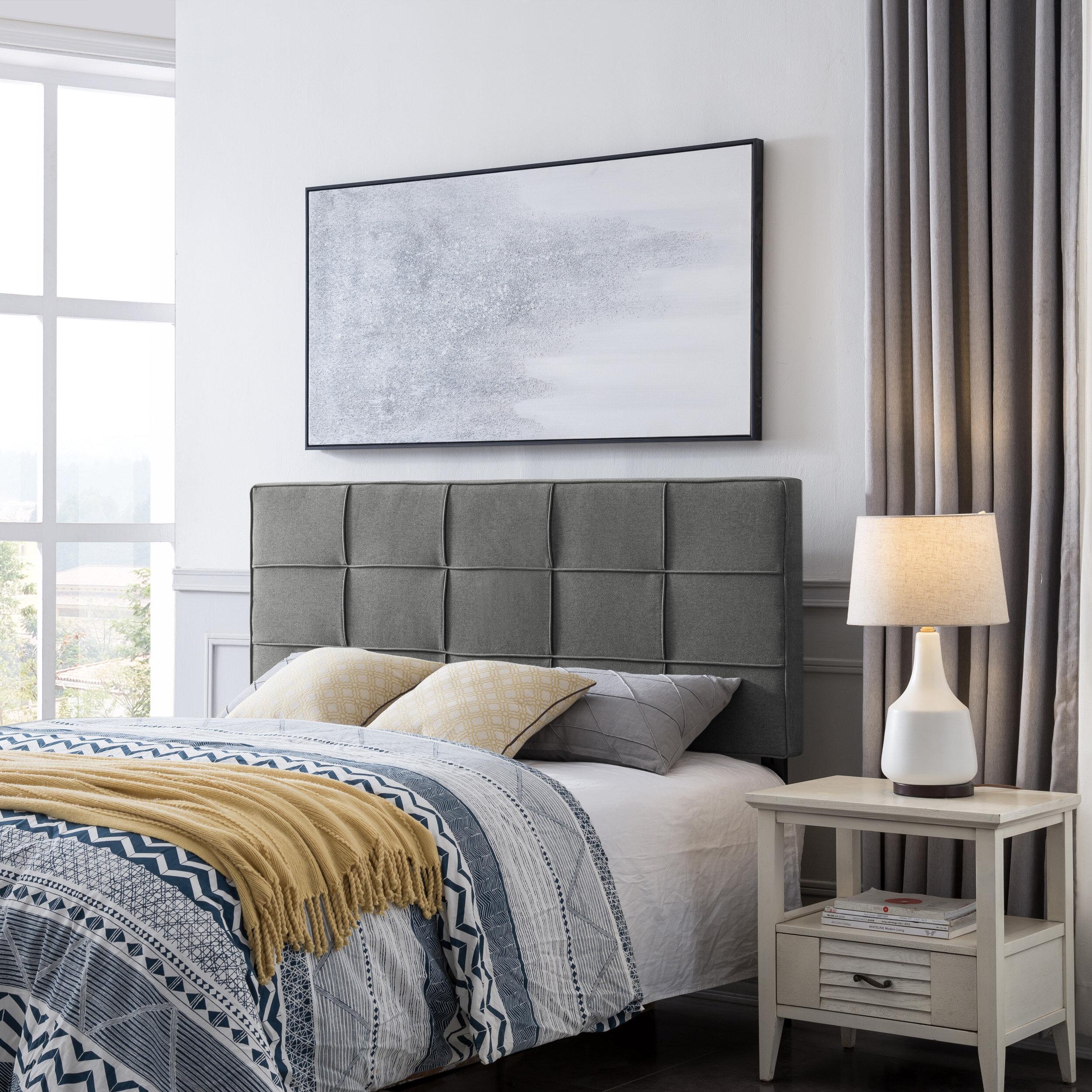 Wall Mount Modular Upholstered Headboard Tiles Button Tufted Gray Full//Queen