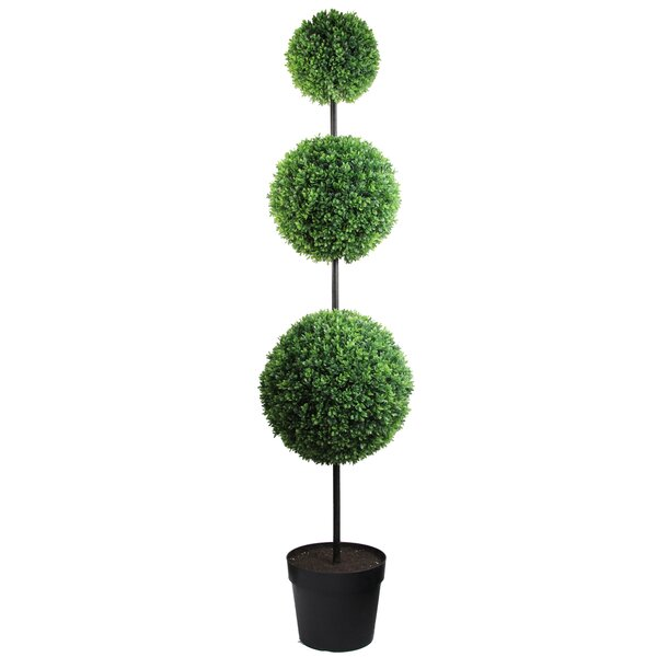 66 Tall Artificial Triple Ball Shaped Boxwood Topiary in Pot by Admired by Nature
