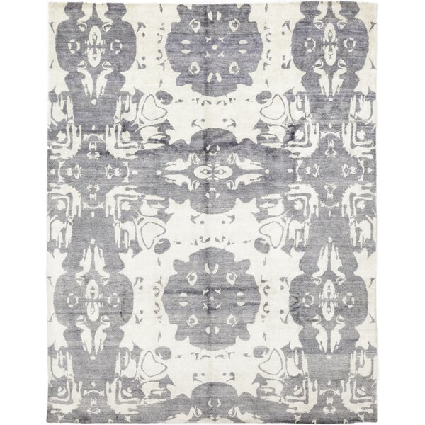 One-of-a-Kind Crumpton Hand-Knotted Wool Gray/Cream Indoor Area Rug by Isabelline