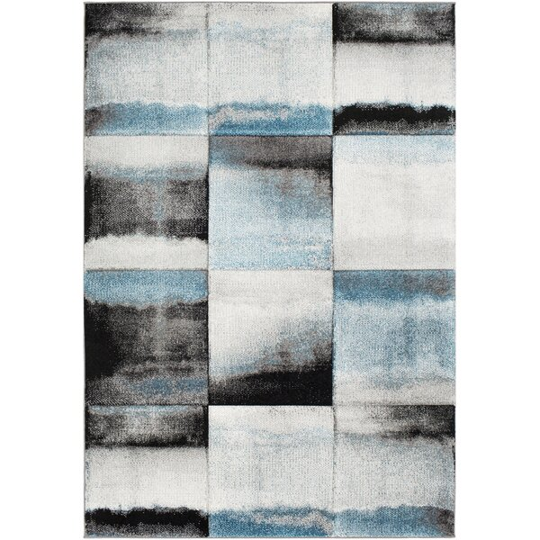 Mott Street Teal/Black Area Rug by Wrought Studio