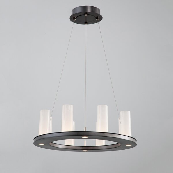 12 - Light Shaded Wagon Wheel LED Chandelier By Hammerton Studio