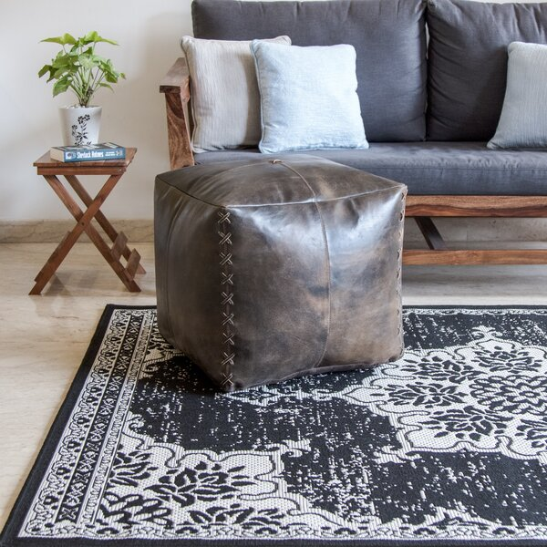 Cory Leather Pouf By Loon Peak