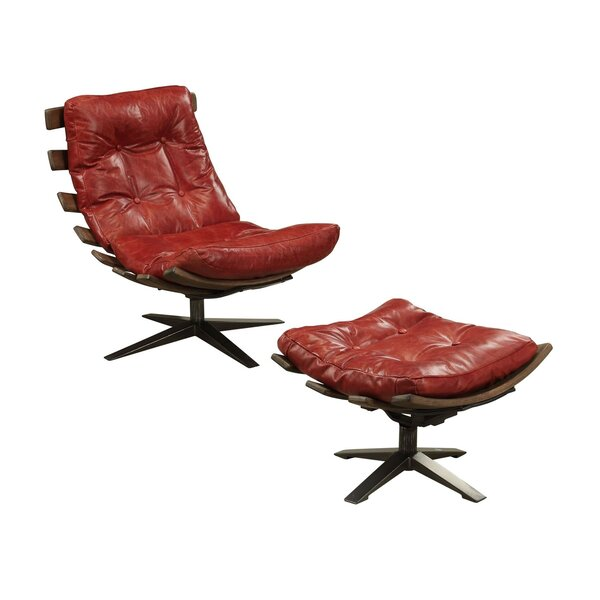 Topeka Top Grain Leather Swivel Lounge Chair And Ottoman By 17 Stories