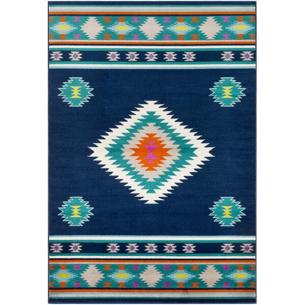 Thornton Navy/Aqua Area Rug by Millwood Pines