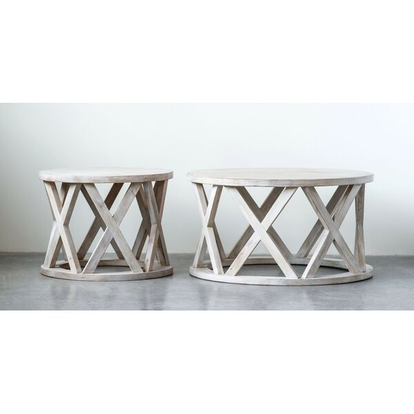 Keffer Round Mango Wood End Table by Bungalow Rose