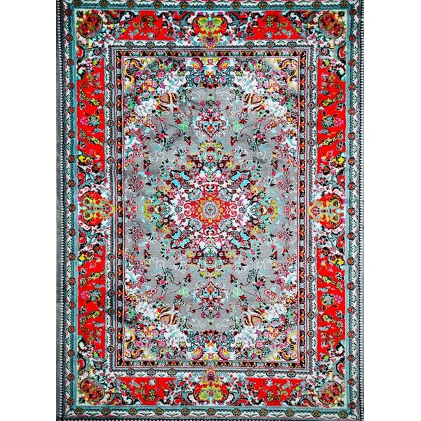 Dunlap Gray/Red Indoor/Outdoor Area Rug by World Menagerie