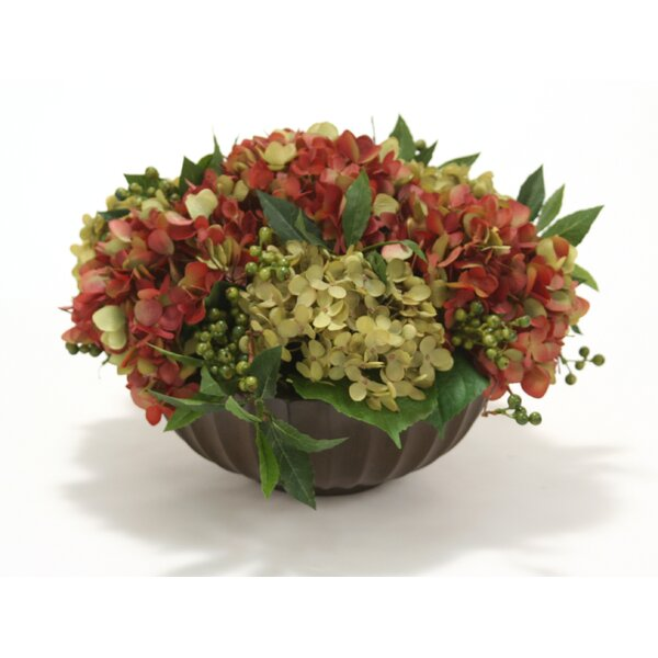 Mixed Hydrangeas in Fluted Bowl by Distinctive Designs