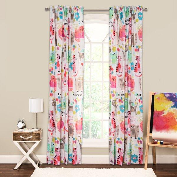 Purrty Cat Wildlife Sheer Rod Pocket Single Curtain Panel by Crayola LLC
