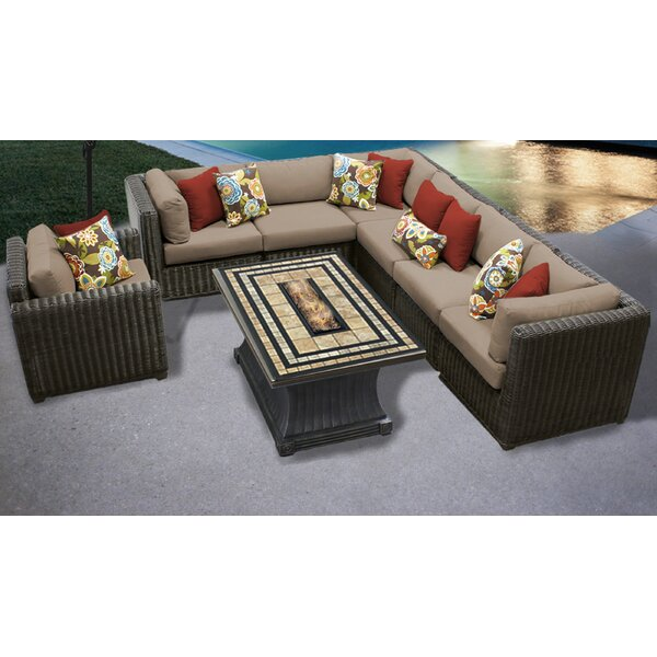 Mejia 8 Piece Sectional Seating Group with Cushions by Rosecliff Heights