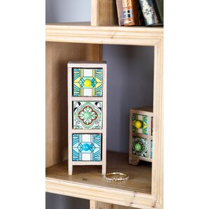 Traditional Rectangular Lattice-Patterned 3-Drawer Ceramic Jewelry Box by Bloomsbury Market