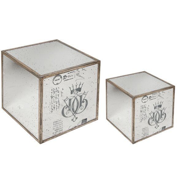 Mirror End Table (2 Piece Set) by A&B Home