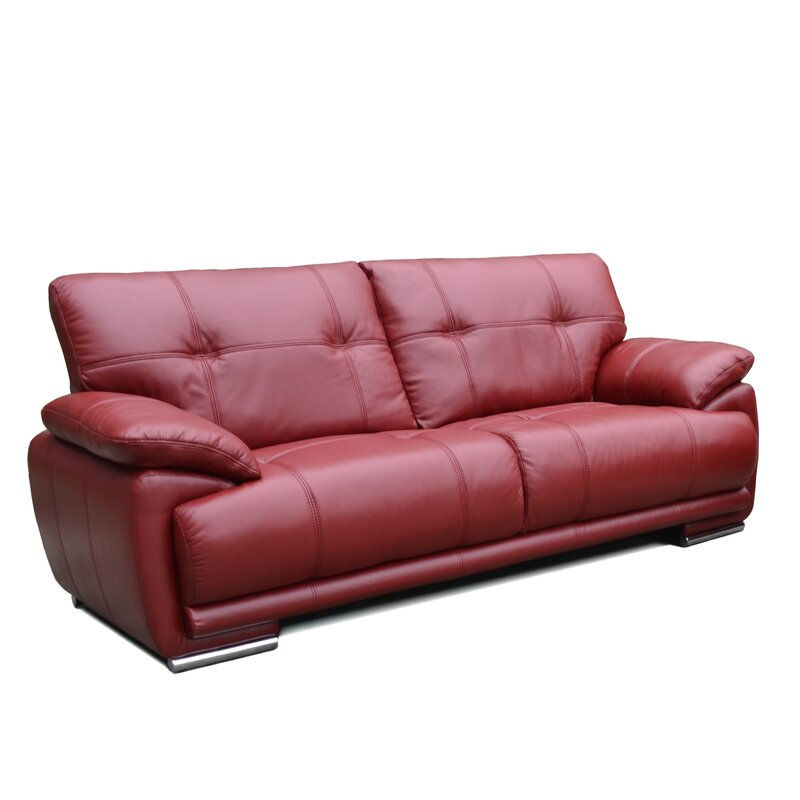 Wade Logan Wilmot Leather 3 Seater Sofa & Reviews | Wayfair.co.uk