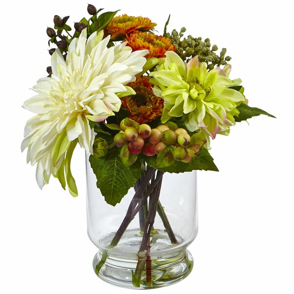 Dahlia/Mum Floral Arrangements in Decorative Vase by Nearly Natural