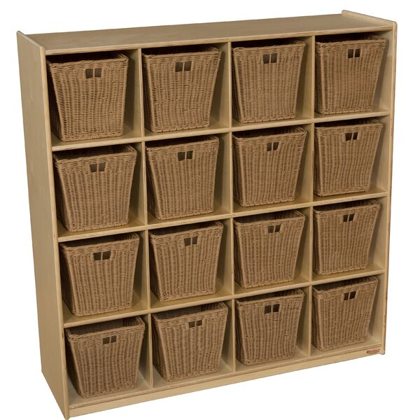16 Compartment Cubby with Bins by Wood Designs