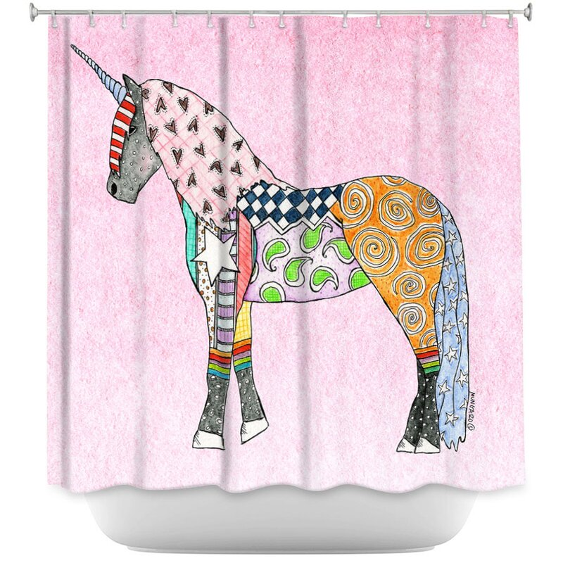 East Urban Home Unicorn Pastel Single Shower Curtain Wayfair