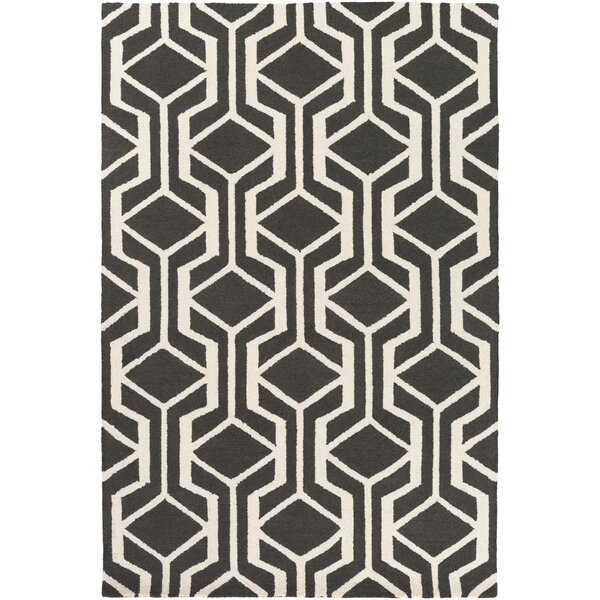 Younkin Hand-Crafted Black Area Rug by George Oliver