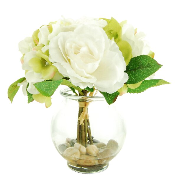 Mixed Floral in a Glass Vase with Faux Water by LCG Florals