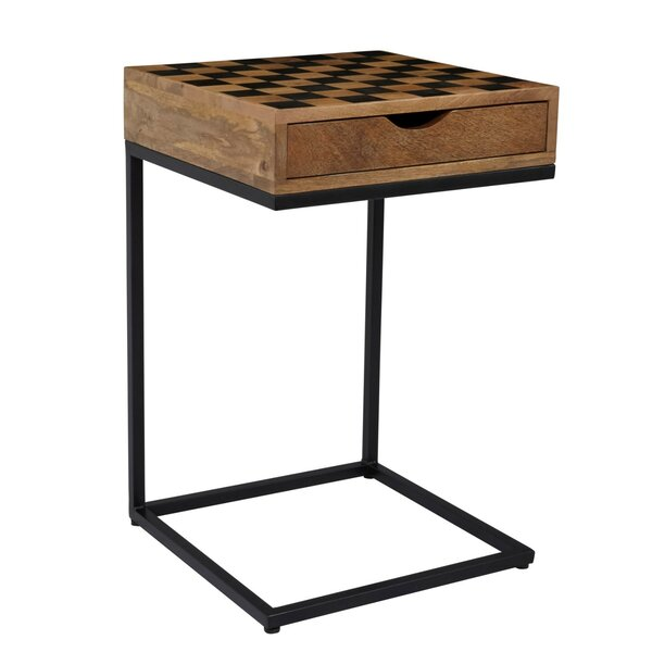 Arocho Wood and Metal Checkerboard End Table with Storage by Williston Forge