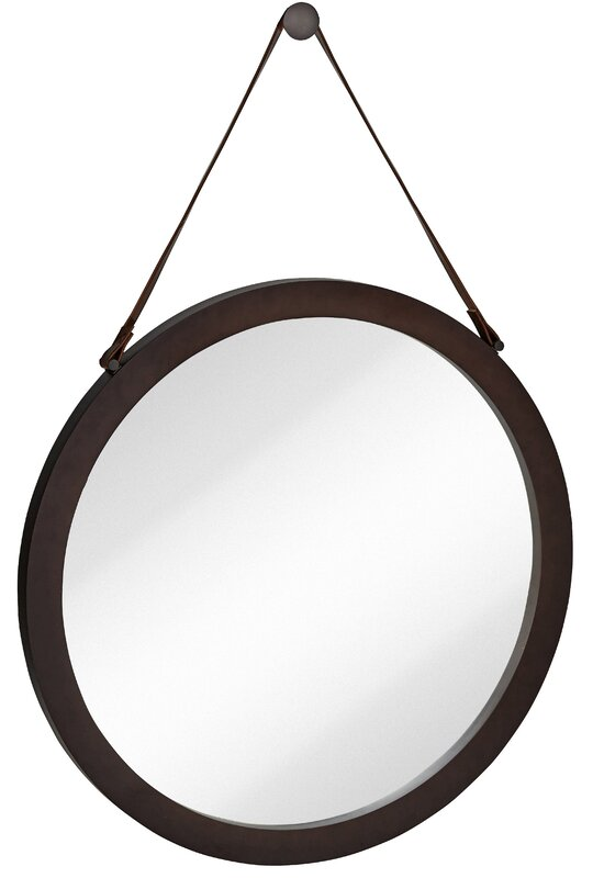 Round Urban Modern Leather Strap Decorative Hanging Wall Mirror