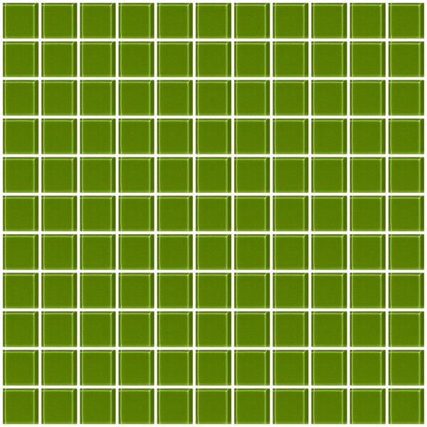 1 x 1 Glass Mosaic Tile in Glossy Dark green by Susan Jablon