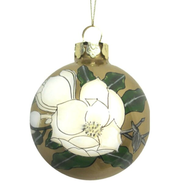 Gardenia Flower Hand Blown Glass Christmas Ball Ornament by The Holiday Aisle